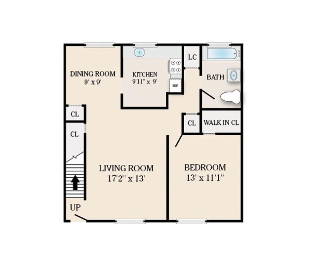 1 Bedroom 1 Bath. 812 Sq. Ft.