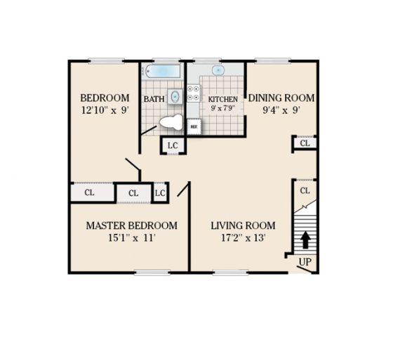 2 Bedroom 1 Bath. 924 sq. ft.
