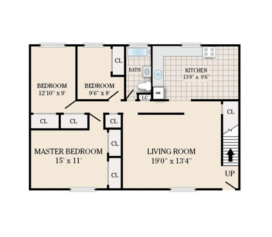 2 Bedroom 1 Bath. 1155 sq. ft.