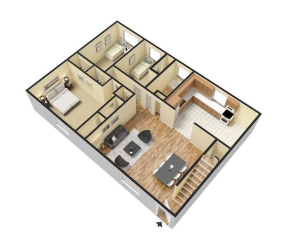 3D 2 Bedroom 1 Bath. 1155 sq. ft. Furnished